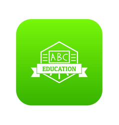 education icon green vector image