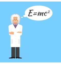 Einstein is stands keeping formula in his head vector