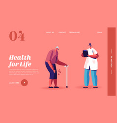 Elderly people going ability landing page template vector