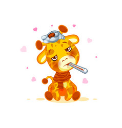 Emoji character cartoon giraffe sick with vector