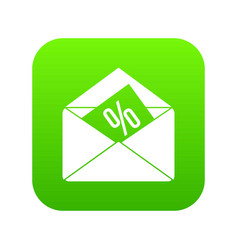 envelope with percentage icon digital green vector image