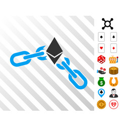Ethereum broken chain icon with bonus vector