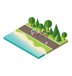 Family cycling on countryside summer sunny road or vector