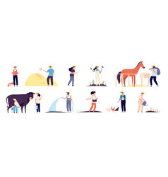 farmer people agricultural workers plant and vector image