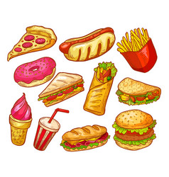 fast food sandwiches burgers and drinks sketch vector image