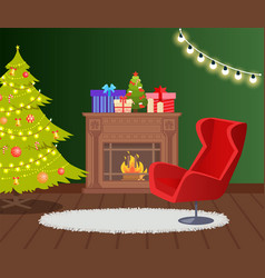 Fireplace decorated for christmas holidays house vector