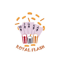 Flat royal flush in spades rain of coins vector