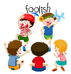 funny children being foolish vector image