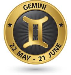 Gemini zodiac gold sign gemini symbol vector