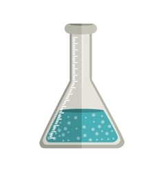 Glass beaker for laboratory with liquid solution vector image