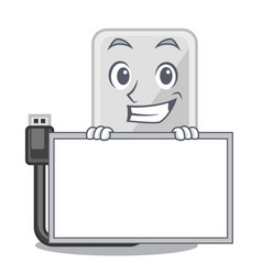 grinning with board hard drive in shape of mascot vector image