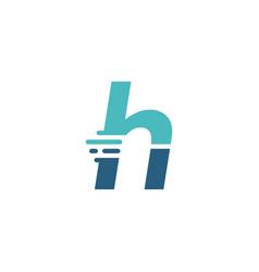 h letter dash lowercase tech digital fast quick vector image