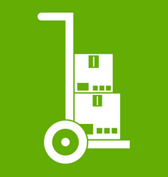 hand cart with cardboards icon green vector image