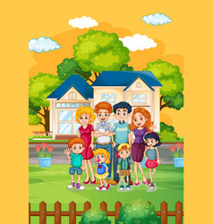 Happy family standing in front house vector