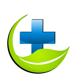 Hospital medical cross with environment leaf icon vector