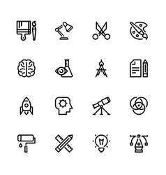 icons creativity black linear vector image