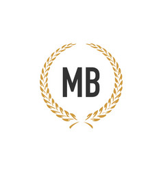 Initial letter mb wheat luxurious minimalist vector