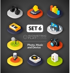 Isometric flat icons set 6 vector image