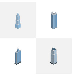 Isometric skyscraper set of exterior tower vector