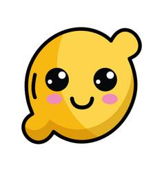 kawaii cute happy lemon fruit vector image