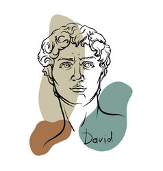 Line art head david michelangelo 3 vector
