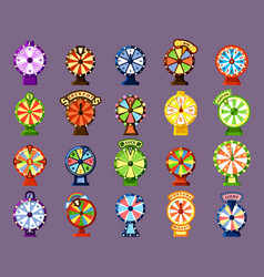 lucky wheels flat color icons set vector image