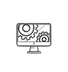 Monitor with gears hand drawn outline doodle icon vector
