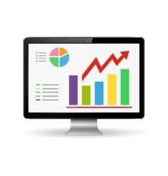 Monitor with graphs on the screen vector