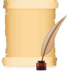 old paper and feather with inks vector image