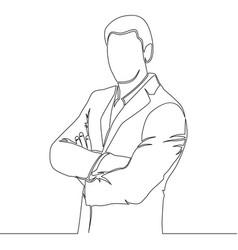 One line drawing broker standing concept vector