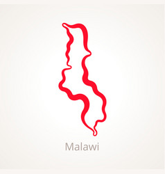 Outline map of malawi marked with red line vector