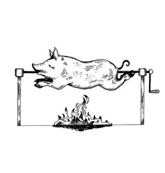 Piggy on spit engraving vector