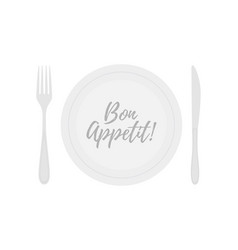 Plate with fork knife bon appetite title vector