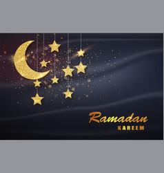 ramadan kareem gold moon and luxury islamic vector image