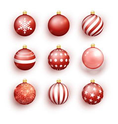 red christmas balls isolated on white set vector image