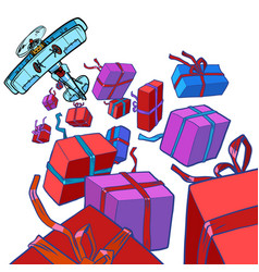 Retro airplane drops gift boxes isolate vector