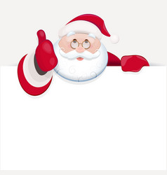 santa claus behind blank sheet for text and vector image