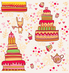 seamless cake pattern with rabbit vector image