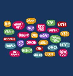 set comic speech bubbles conversation vector image