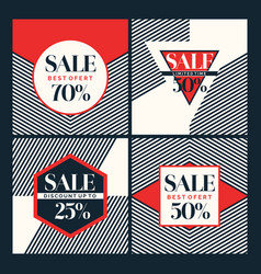 set of fashion stickers sales and discounts vector image