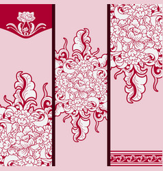 Set of vertical banners based on chinese painting vector