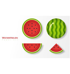 Set of watermelons in paper art style vector
