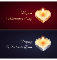 Simple Valentines Day Card with Golden and Silver vector