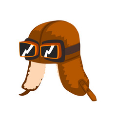 steampunk aviator helmet with goggles vector image