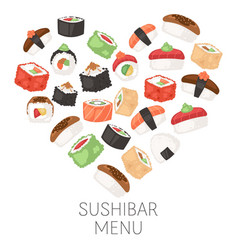 Sushi bar menu japanese traditional cuisine dishes vector