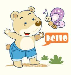 teddy bear n butterfly vector image