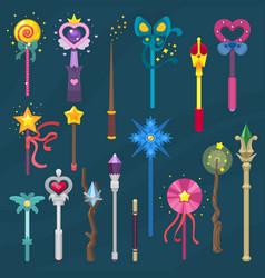 Wand magic stick miracle fantasy magician vector