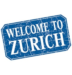 Welcome to Zurich blue square grunge stamp vector