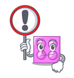 With sign toy brick character cartoon vector