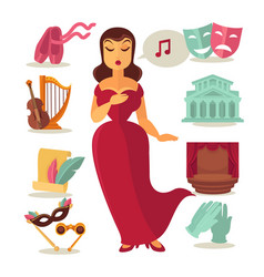 Woman singing in theatre vector